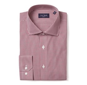 Burgundy Petite Gingham non-iron dress shirt