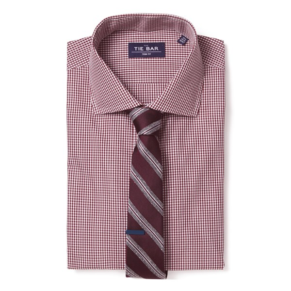 Burgundy Petite Gingham Non-Iron Shirt