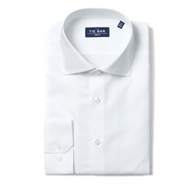 Textured Solid White Dress Shirt