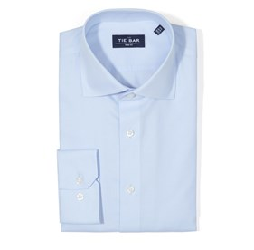 Textured Solid Light Blue Dress Shirt