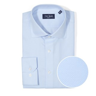 Textured Solid Light Blue Non-Iron Dress Shirt
