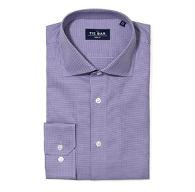 Purple Petite Houndstooth non-iron dress shirt