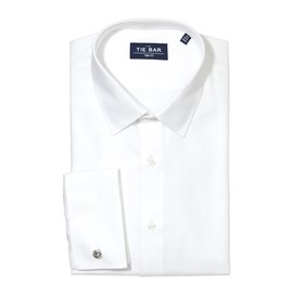 Herringbone Tuxedo White Dress Shirt