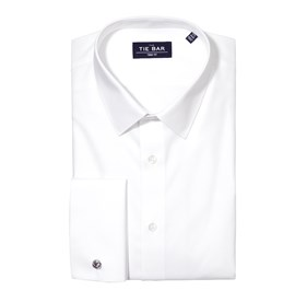 Pinpoint Solid - French Cuff White Dress Shirt