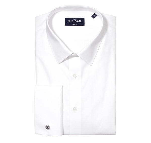 Pinpoint Solid - French Cuff White Non-Iron Shirt