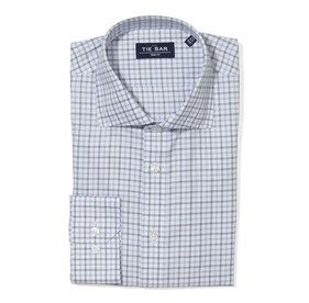 Large Two Color Check Blue Dress Shirt