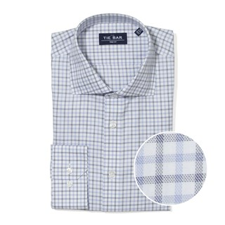 Large Two Color Check Blue Non-Iron Dress Shirt