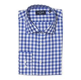 Large Gingham Textured Classic Blue Dress Shirt