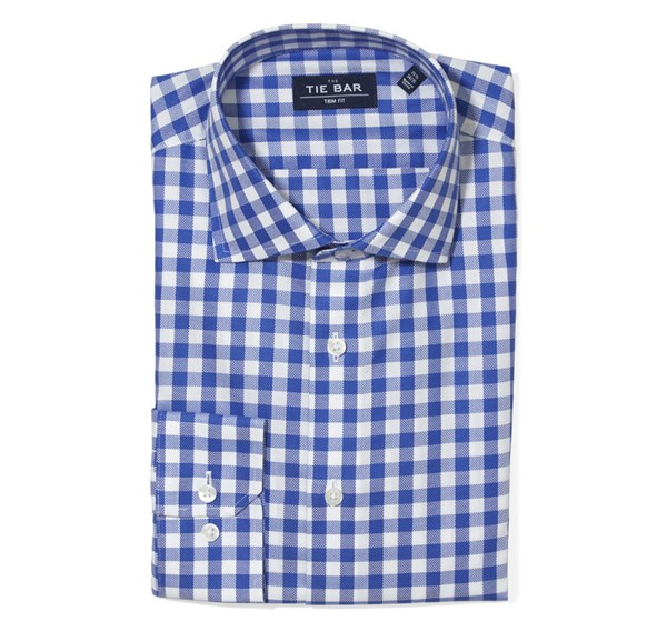 Large Gingham Textured Classic Blue Non-Iron Shirt