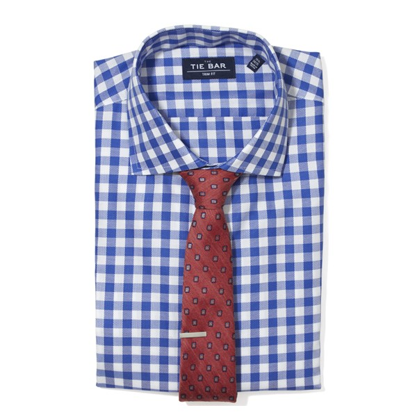 Classic Blue Large Gingham Textured Non-Iron Shirt
