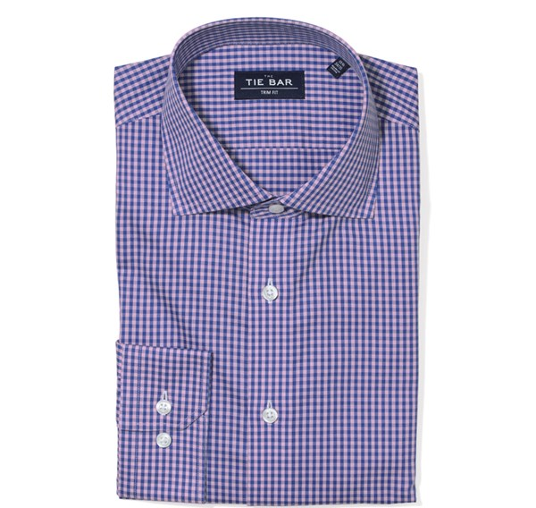 Two Tone Gingham Pink Non-Iron Dress Shirt