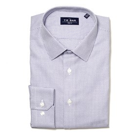 Patterned Crosshatch Blue Dress Shirt