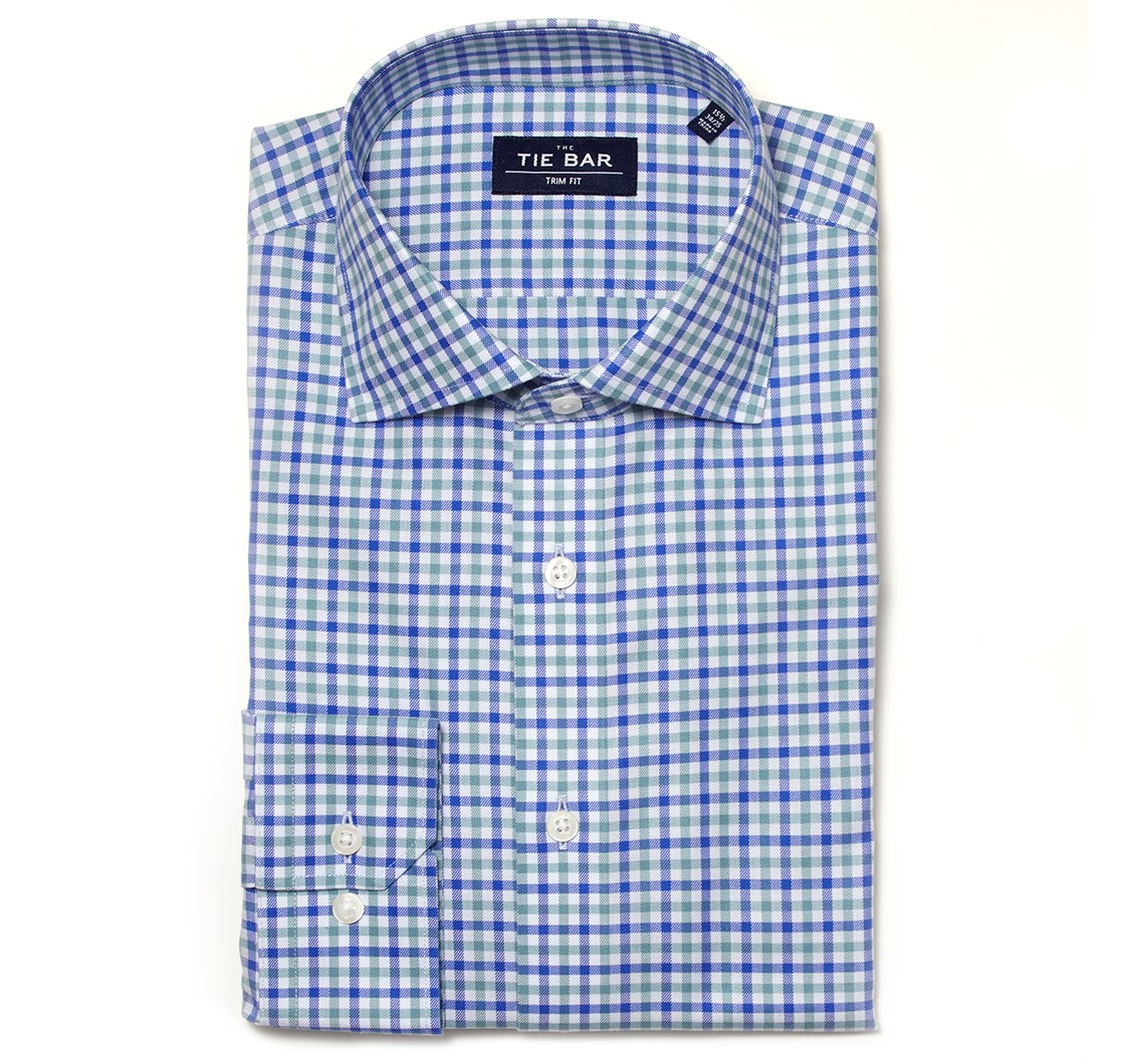 "Multi Plaid - Blue - Trim 15.5"" X 32/33"" - Shirts"