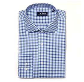 Exploded Grid Blue Dress Shirt