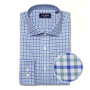 multi plaid blue non-iron dress shirt