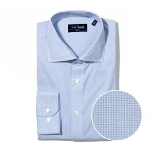 summer solid blue non-iron dress shirt