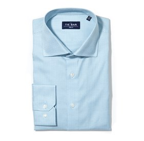 WASHED TEAL PETITE HOUNDSTOOTH non-iron dress shirt