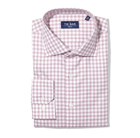 Washed Burgundy Heathered Gingham non-iron dress shirt