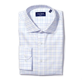 Blue Large Tattersall non-iron dress shirt