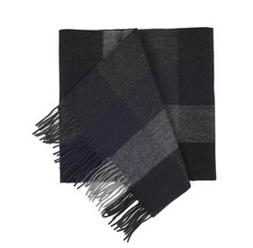 Navy Lincoln Park Check scarf