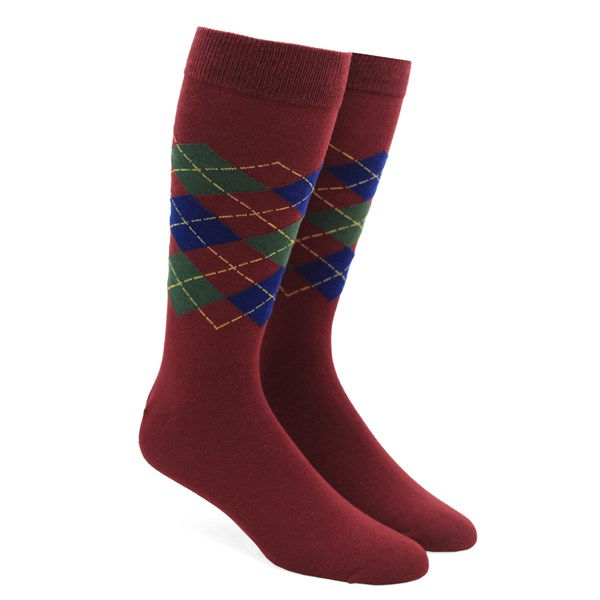 Deep Burgundy Panel Argyle Socks