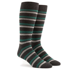 contrast stripe charcoal dress socks