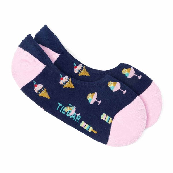 Navy Ice Cream And Popsicles No-Show Socks