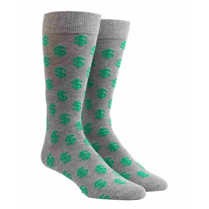dollar signs charcoal dress socks