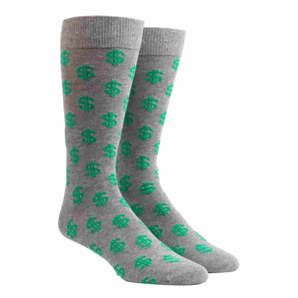 Charcoal Dollar Signs Socks