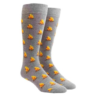 fire pit charcoal dress socks