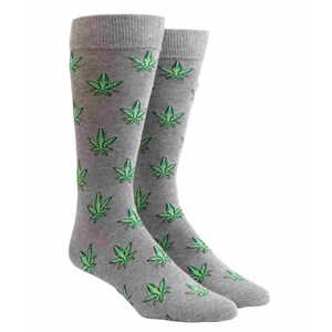 marijuana leaf charcoal dress socks
