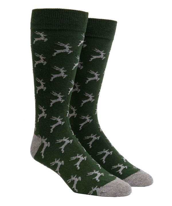 Jumping Reindeer Hunter Green Dress Socks