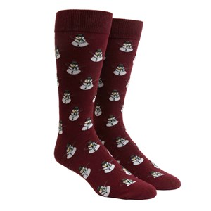 snowman burgundy dress socks