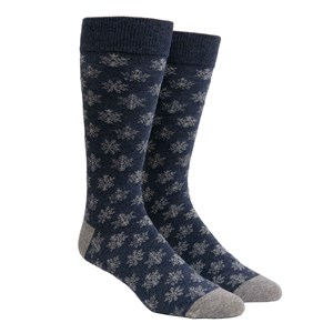 snowy snowflakes navy dress socks