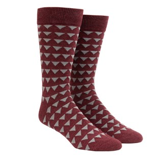 Triangle Geo Burgundy Dress Socks