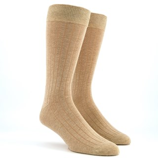 Wide Ribbed Heather Oat Dress Socks