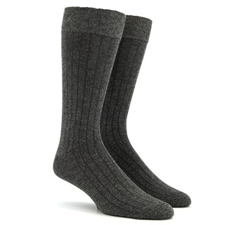 Wide Ribbed Heather Charcoal Dress Socks