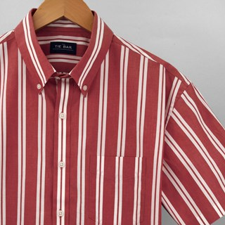 Awning Stripe Red Short Sleeve Shirt