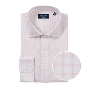 medium bold check light pink non-iron dress shirt
