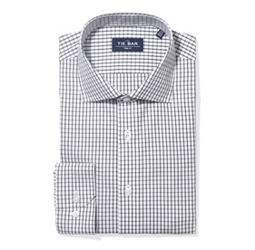 Grey Bold Check non-iron dress shirt