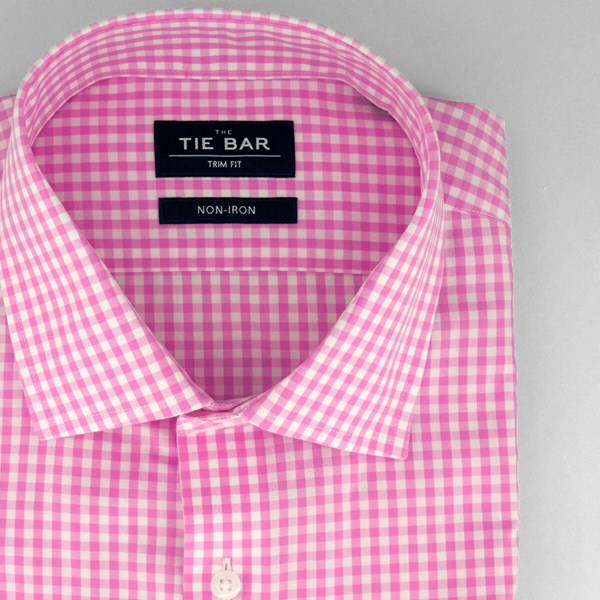 Gingham Bright Pink Non-Iron Dress Shirt