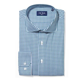 Green Teal Shadow Gingham non-iron dress shirt