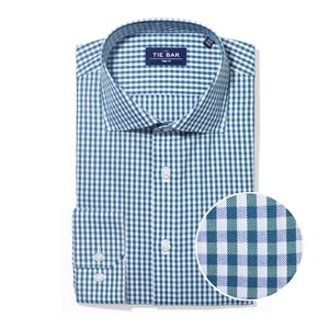 shadow gingham hunter green non-iron dress shirt