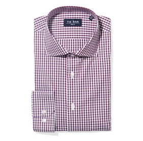 Wine Shadow Gingham non-iron dress shirt