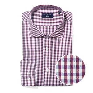 shadow gingham wine non-iron dress shirt