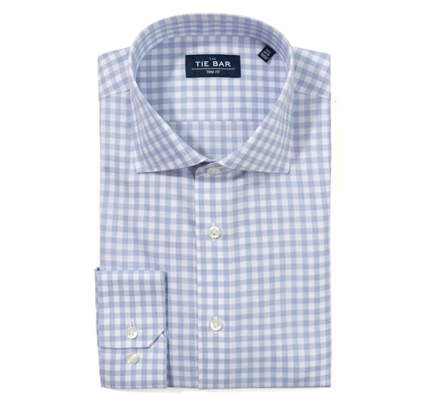 Heathered Gingham Light Blue Non-Iron Shirt
