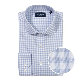 heathered gingham light blue non-iron dress shirt