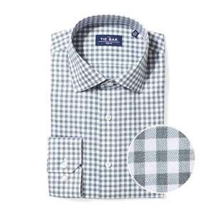 heathered gingham dark sage green non-iron dress shirt