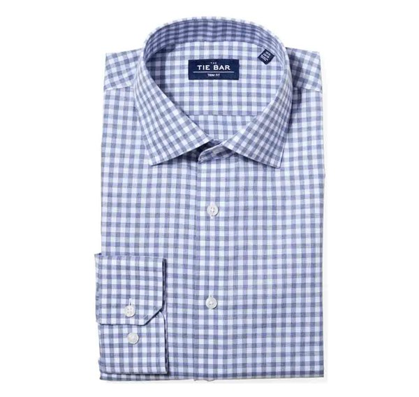 Heathered Gingham Slate Blue Non-Iron Shirt