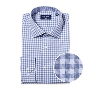 heathered gingham slate blue non-iron dress shirt